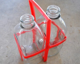 1960s vintage milk bottles with red carrier / 2 glass milk jugs