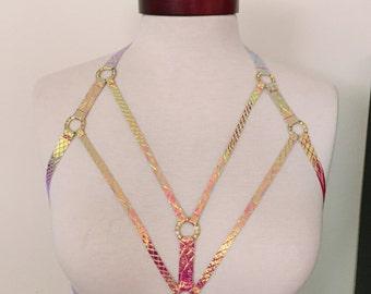 Iridescent pink Phoenix body harness top rainbow pearl