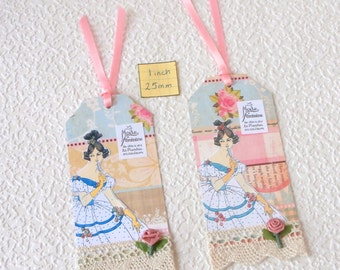 Gift Tags with vintage theme, La Mode Feminine 1800s, set of two