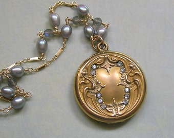 Antique Art Nouveau Locket Necklace With Paste Stones Wire Wrapped With Pearls and Labradorite, Gold Filled Locket, Gift For Her (N244)