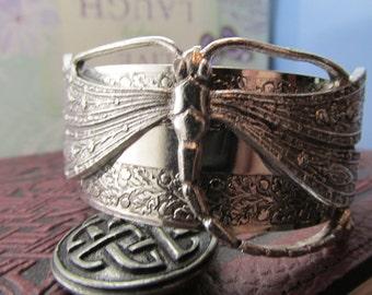 Dragonfly bracelet silver Gorgeous Art Deco and vintage tiffany like dragonfly silver vintage cuff
