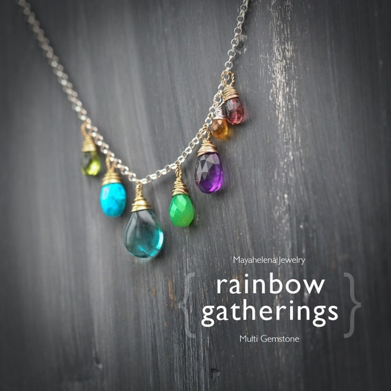 Rainbow Gatherings - Fluorite Turquoise Chalcedony Peridot Amethyst and Garnet Wire Wrapped Mixed Metal Necklace
