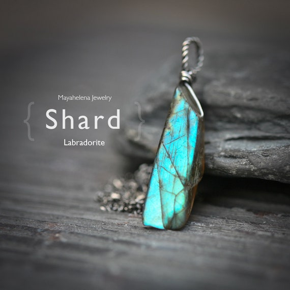 Labradorite Shard  - Raw Labradorite Rustic Wire Wrapped Sterling Silver Necklace