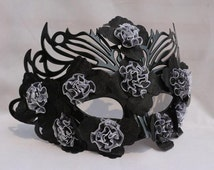 Black or White Venetian mask masquerade mask princess flower lace plus men and women feather full face mask white black.