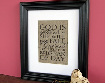 GOD is WITHIN HER - burlap art print