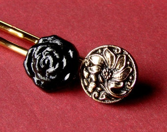 Black Rose and Gold Floral Blossom Bobby Pin Pair - Gold and Black Bobbies