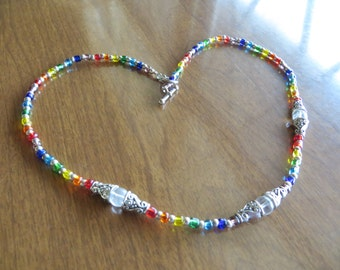 QUARTZ crystal Necklace LGBT - gay pride -rainbow - chakra