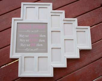 MULTI 11 Opening distressed rustic collage picture frame with 10) 3.5x5  & 1) opening for a quote ...white....HANDMADE