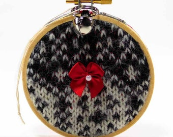 Rustic Christmas Ornament Recycled Sweater Ornament Hoop Ornament Black and White Sweater Eco Ornament Homespun Christmas Felted Ornaments