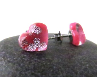 Fused Glass Earring Posts - Cherry Blossom Pink Valentine Hearts - Made to Order