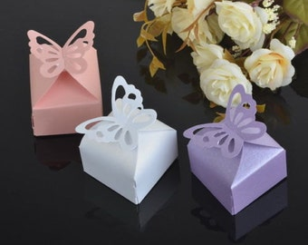 50 Butterfly Candy Boxes - 3 Color Choices