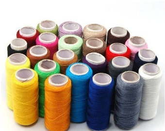 24 Pack Assorted 200 yard Spool Polyester Sewing Threads Craft Supplies
