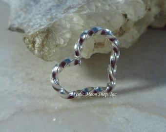 Heart Hoop SINGLE Silver Twist Small - Piercing Hoop, Heart Earring, Heart Piercing, Silver Heart Earring, 20 Gauge Heart, 18 Gauge Heart
