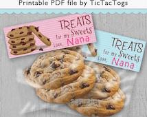 Chocolate Chip Cookie Treat Bag Party Favor Topper Boy Girl - Instant Download - Digital Set 8.5 x 11 PDF File
