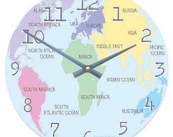 Pastel Map of the World Clock -Children's Atlas Clock