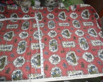 """Vintage Medium Weight Colonial Themed Fabric 68"""" long x 54"""" width"""