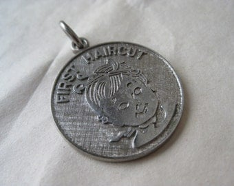 First Haircut Charm Sterling Gerber Baby Vintage Silver 925 3-12-72