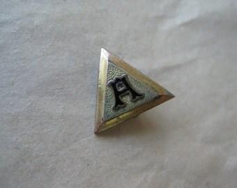 H Triangle Pin Brooch Enamel Black Gold Vintage