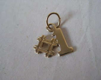 No. # 1 Gold Charm Vintage Number One