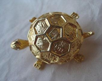 Turtle Gold Brooch Rhinestone Tortoise Vintage Pin Clear