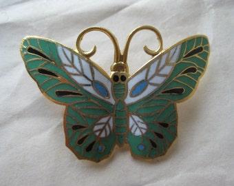 Butterfly Green White Brooch Gold Enamel Vintage Pin Cloisonné Pendant