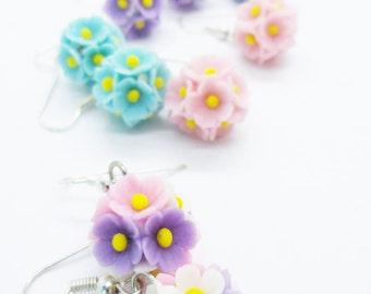 Handmade Jewelry Miniature Polymer Clay Flowers Bridesmaid Earring Wedding Gifts 1 pair