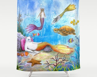 Shower Curtains Art Shower Curtain Bathroom Cat Mermaid 31 Sea Turtle Ocean Blue Seascape art painting L.Dumas