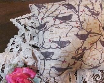 Burlap Pillow with Bird Garden Room Pillow,