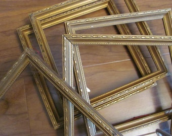 Lot 5 Ornate Antique Gold Picture Frames, Hollywood Glam, Cottage Chic, Crafting