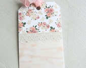 6 Gift Tags, Romantic Flowers with Lace, Cottage Chic, Journaling Tags, Merchandise Tags, Party Favor Tags