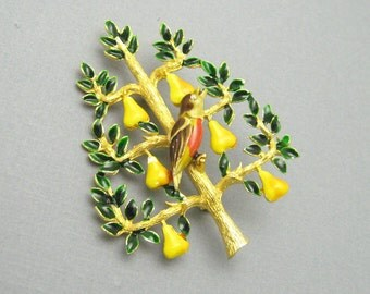 Vintage Partridge in Pear Tree Cadoro Christmas Jewelry P7012