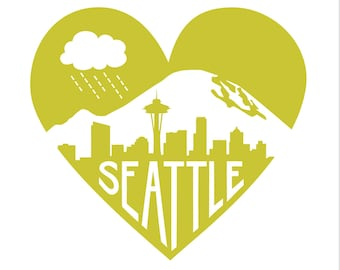 """Chartreuse Green Seattle Heart -- Limited Edition 12 x 12"""" Screenprint"""