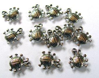 12 Ladybug Charms 12X14mm