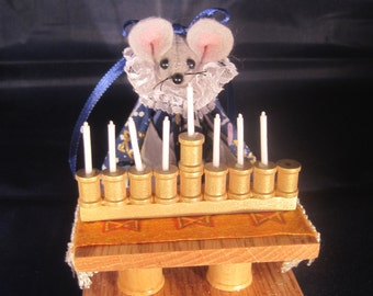 Mouse with a Menorah for Hanukkah. NEW LOWER PRICE