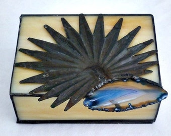 Stained Glass Box, Beige, with Vintage Tin Decoration, and Teal Geode