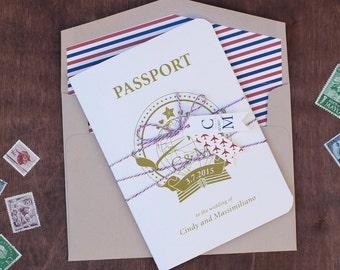 Passport Wedding Invitation - Destination Wedding Invitation, travel invitation, travel theme invitation SAMPLE