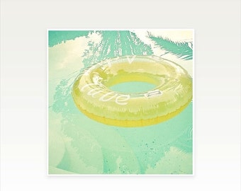 SALE 25% OFF Swimming pool art, Water Photography, Mint Green and Yellow, Aqua, Mid Century, Abstract, Summer Colours - Inviting