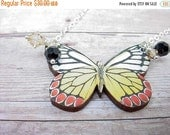 Butterfly Necklace  Black, Yellow, Red, White Moth Pendant  Black Crystal Dangles