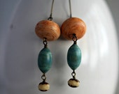 Peach and Teal Earrings, Vintage Lucite,  Swirly Dangles, Matte, Modern, Bohemian