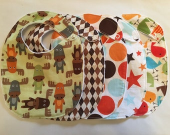 Baby Boy Bib Gift Set - moose birds 5 Bibs with snap closures and minky backing READY TO SHIP