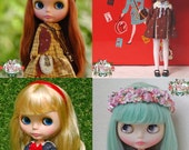 Value Pack of 4  PDF Patterns and English Instructions of dresses for Blythe