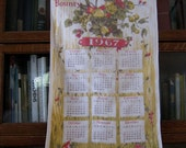 1967 Calendar Towel, Thank Thee For Thy Bounty, Fruit and Foliage, Vintage Kitchen Towel, Vintage Linen, 1967 Calendar, Retro Kitchen Decor