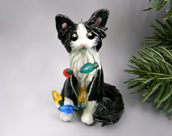 Cat Black White Angora Maine Coon Christmas Ornament Figurine Porcelain