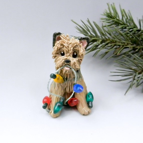 Norwich Terrier Christmas Ornament Figurine By TheMagicSleigh