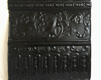 "Antique Salvaged Decorative Tin Ceiling Tile 24"" x 24.5"" Craft Project 26102-16i Black Metal"