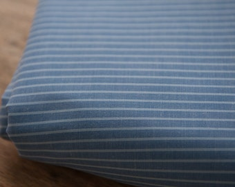 Blue Chambray Stripe - Vintage Fabric New Old Stock Shirting Vertical