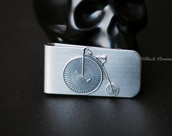 Velocipede Money Clip - Steampunk High Wheeled Bicycle Sterling Silver Plated Brass Stamping - STAINLESS STEEL Clip - Insurance Included