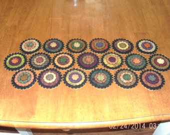 "Penny Rug Table Runner 9"" by 22"" Fall Colors"