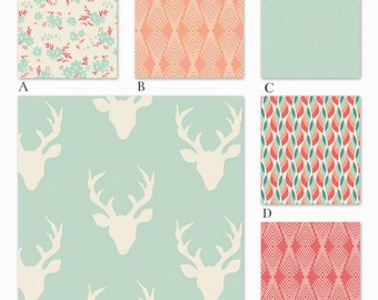Girl Woodland Crib Bedding in Coral, Peach and Mint Baby Bedding in Mod Deer Woodland, Summer Woods Collection
