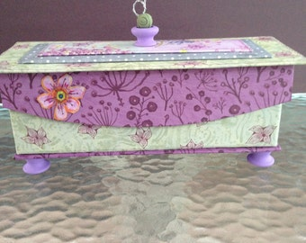 Altered Box with Pen and Ink Flower Details